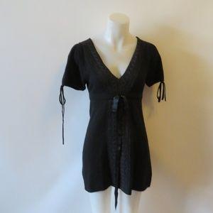 MIGUELINA BLACK CASHMERE SHORT SLEEVE DRESS SZ XS